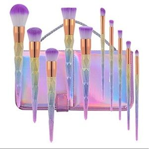 ✨🦄12pc unicorn Diamond Face & eye brush set NWT ✨